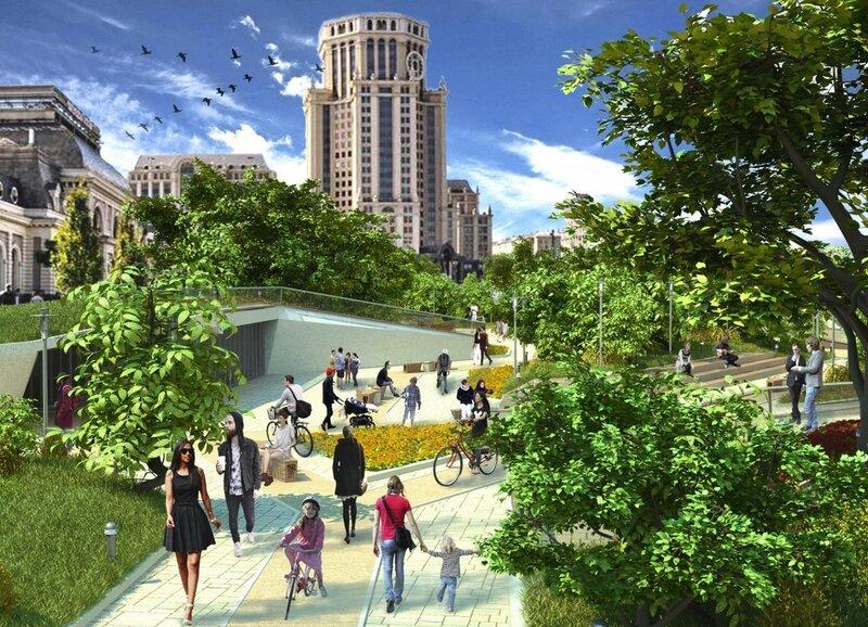 Визуализация проекта реконструкции Павелецкой площади
