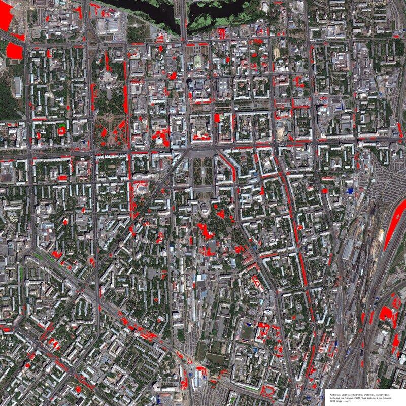 Исчезнувшие деревья: центр Челябинска 2000—2010