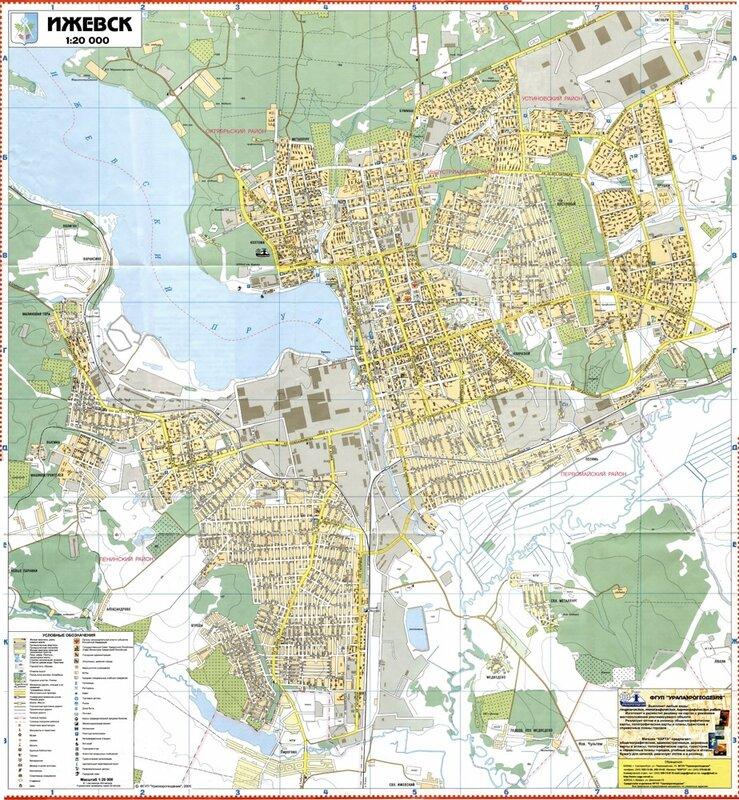 Карта Ижевска подробная с