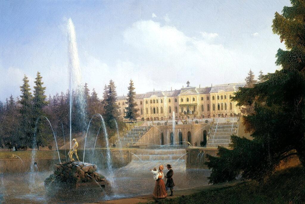 АЙВАЗОВСКИЙ Иван - Вид на Большой каскад в Петергофе. 1837