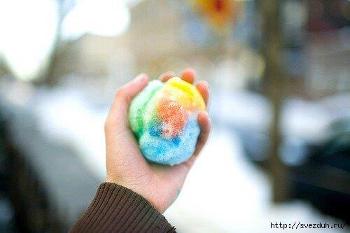 как раскрасить снег