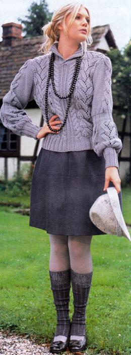 Рельефный пуловер
