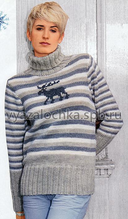 Полосатый пуловер с вышитым мотивом