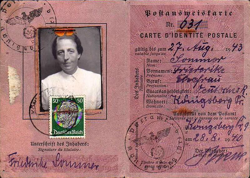 Почтовое удостоверение личности, Кёнигсберг, 1940.jpg