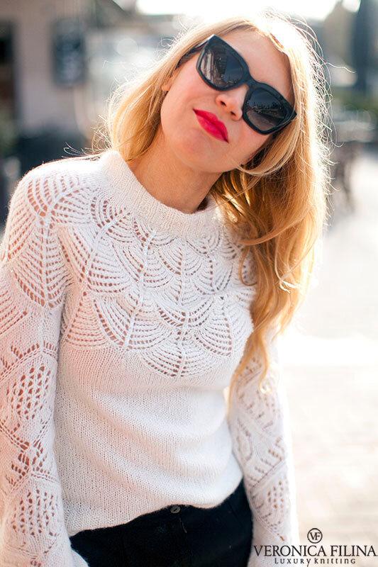 Белый кружевной свитер от Жаннеты