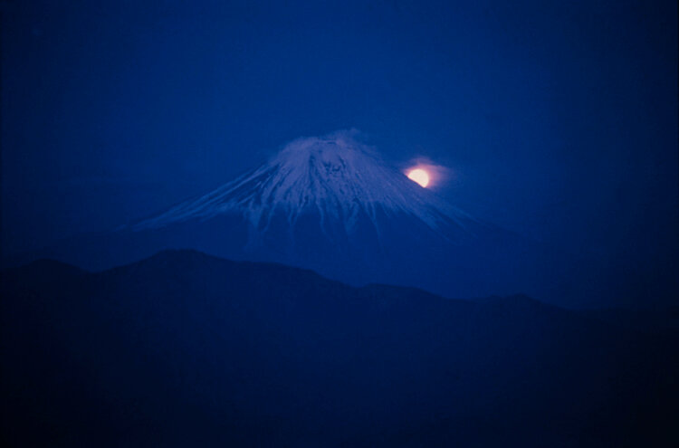 Burt Glinn,Mount Fuji, Japan.  1961/  Full moon rising over Mount Fuji.