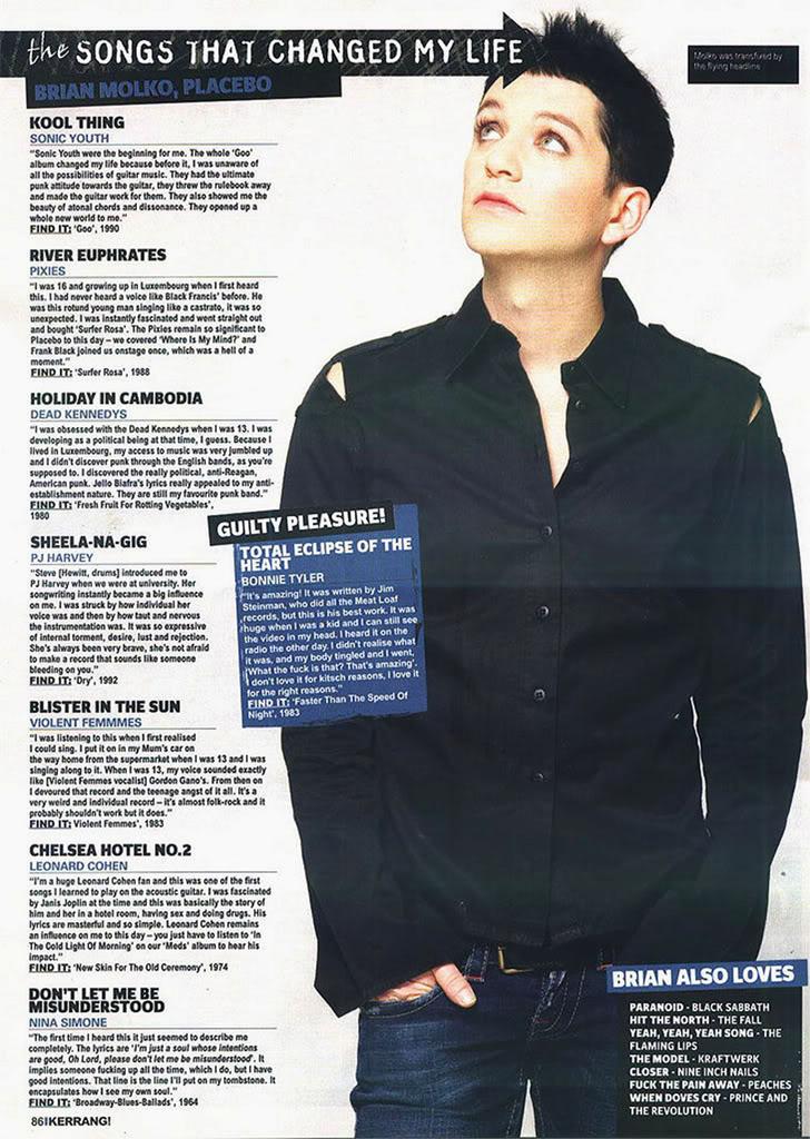 Kerrang Brian Molko The Songs That Changed My Life Jun06 Lj