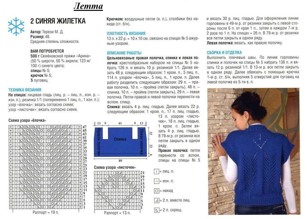 Схемы вязания жилетов спицами со схемами для девочек