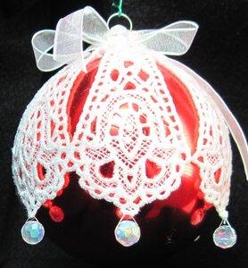 Декорирование новогодних шаров кружевами