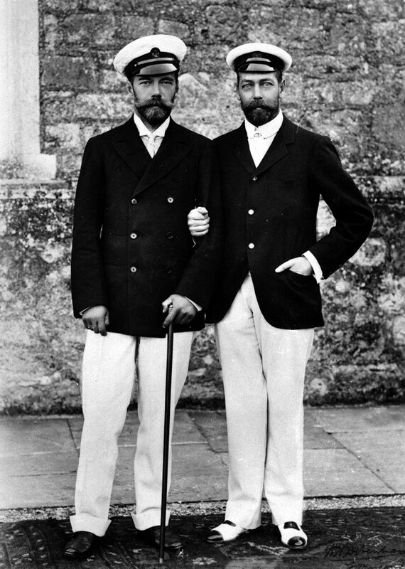 Future George V & Nicolas II, 1904, at Cowes, Isle of Wight