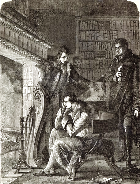 Napoleon brooding by the fire the night before his Abdication and Departure from Fontainebleau on 20th April 1814 (engraving) by English School.jpg