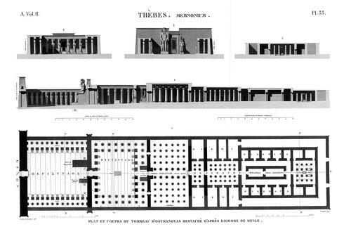 Рамессеум, храм фараона Рамсеса II, Египет, чертежи из Наполеоновского атласа