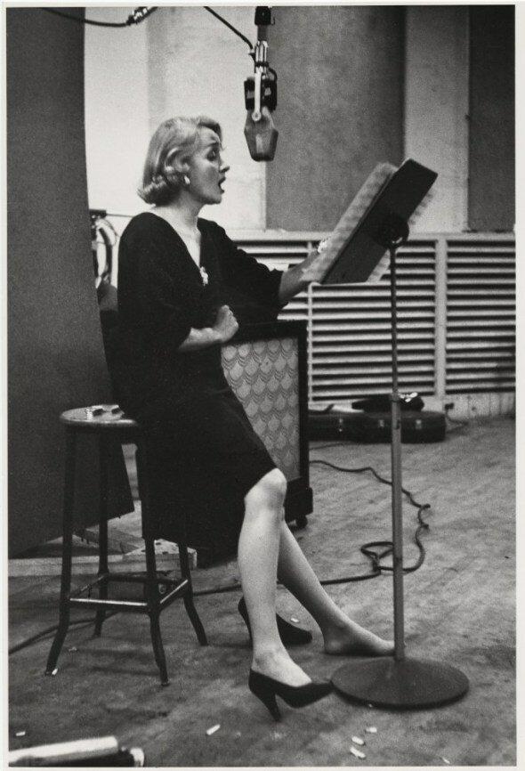 """Eve Arnold, Marlene Dietrich recording """"Lili Marlene,"""" 1952"""