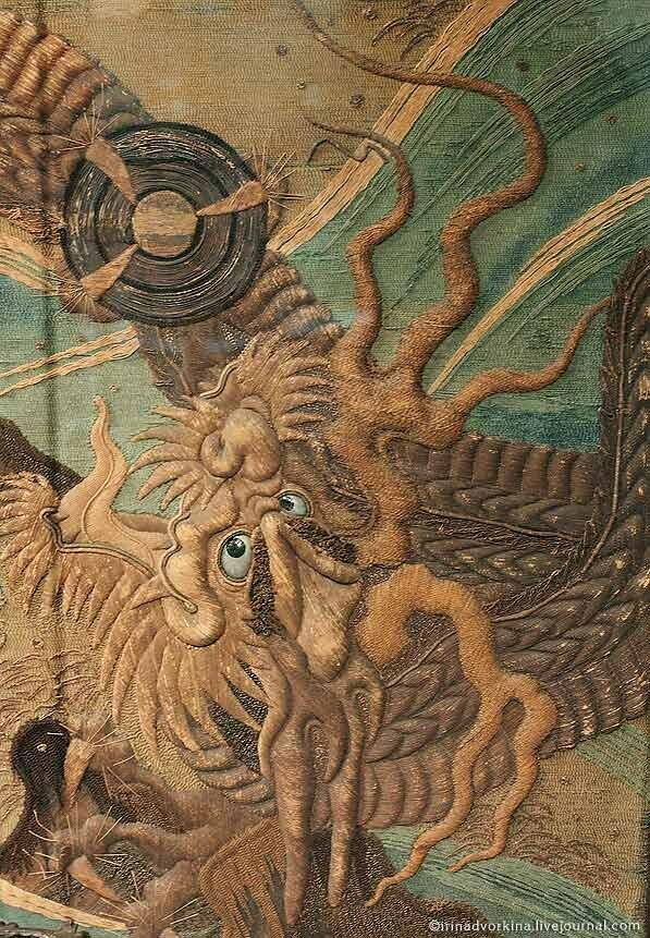 Ширма четырехстворчатая «Дракон в волнах». Япония, кон. XIX в.