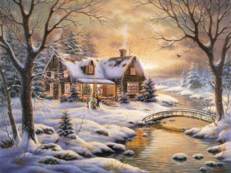 Открытка зимний домик
