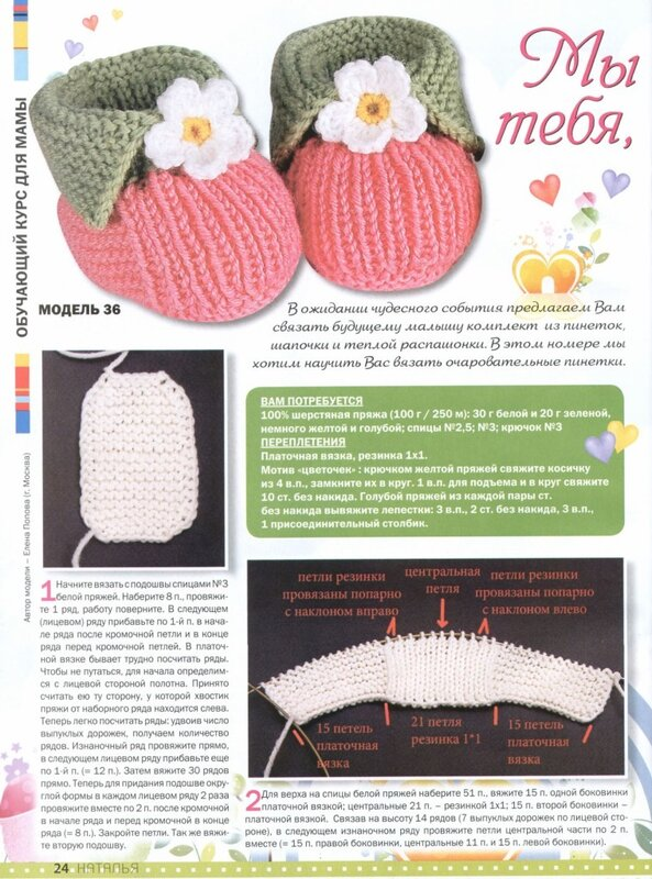 Вязаные пинетки для новорожденного схема описание