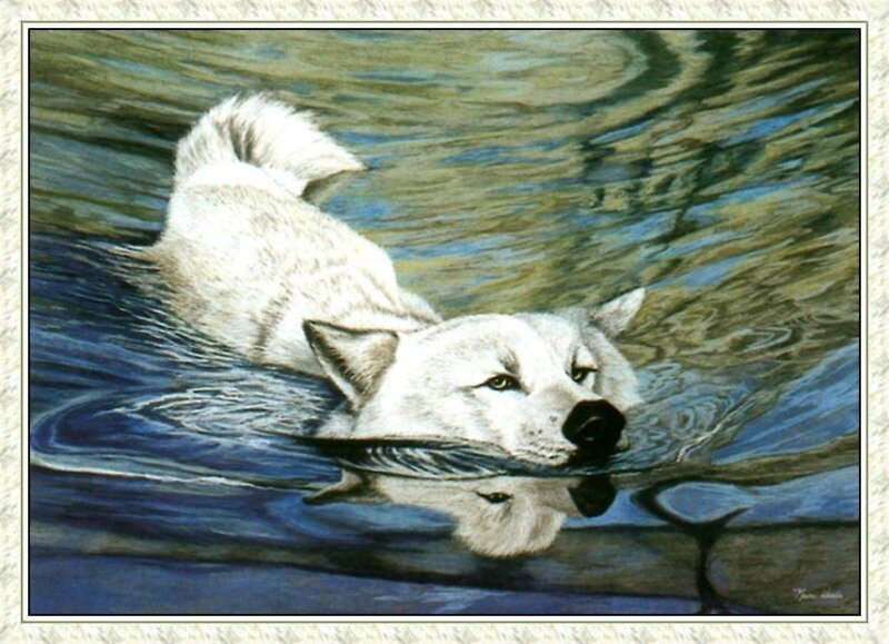 Схема для вышивки панно - морской волк.  Для работы рекомендуются нити серых, сиреневых и синих оттенков...
