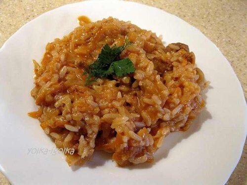 Тушенная капуста с рисом
