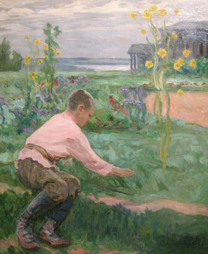 Мальчик на траве. 1910-е гг., холст, масло, 80,3х70,8.jpg