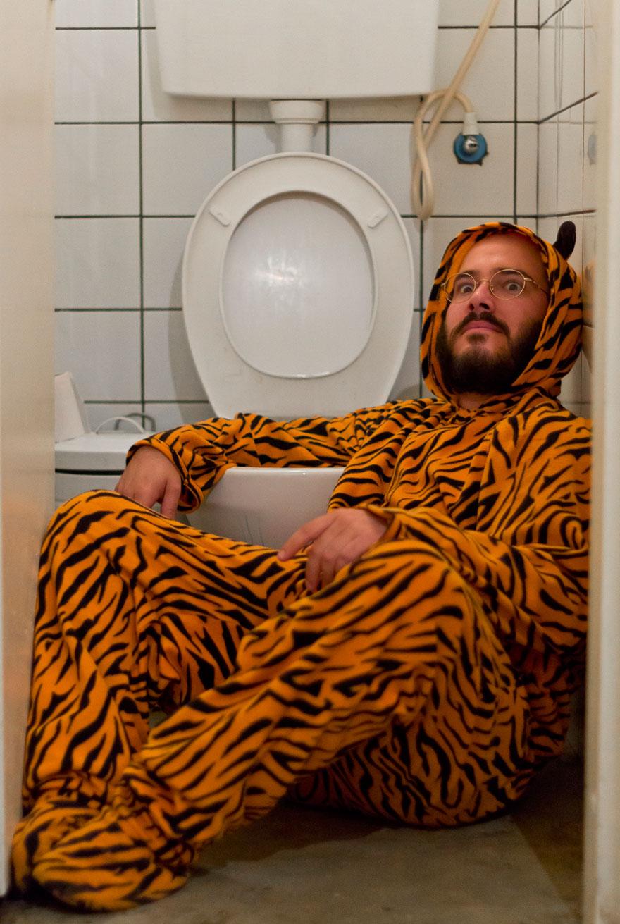 Тигр Нимрод Ротем предложил снять его в туалете, и я сразу же согласился.