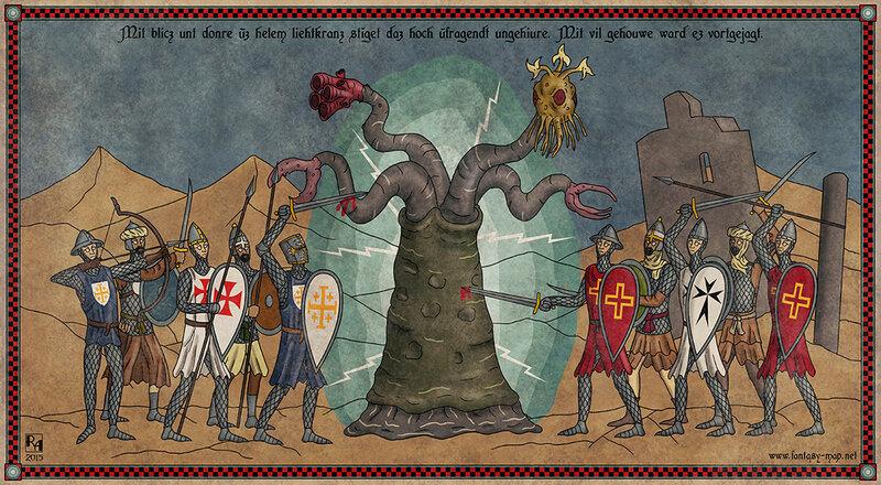 Крестоносцы сражаются с Йитианцем (представителем Великой Расы)