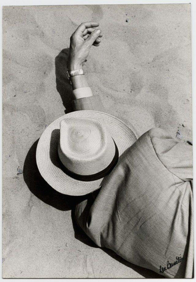 Lou Bernstein, Man in Suit, Panama Hat, Sleeping on Beach, 1957