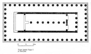 Храм Геры I в Пестуме (так называемая Базилика), план