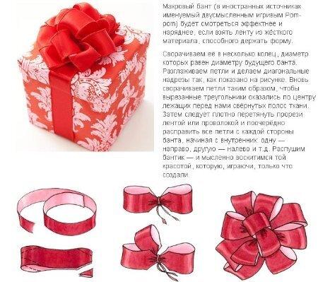 Как сделать бантик на подарок своими руками