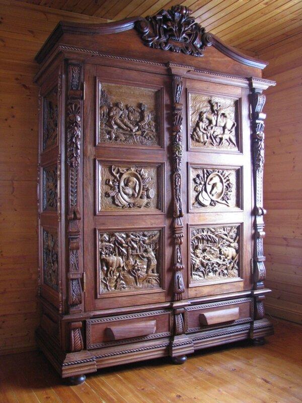 """Резной шкаф. """"охотничий"""". - роспись мебели и предметы интерь."""