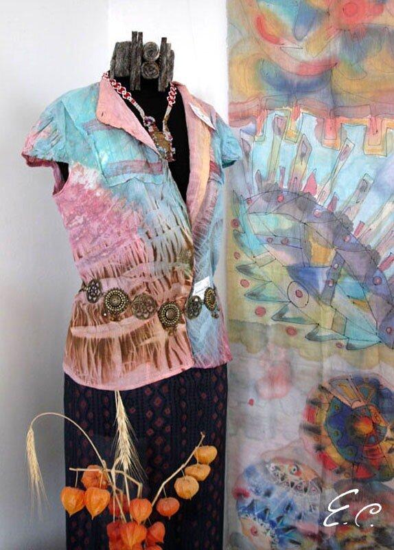Батик одежда: блузка Яшма в технике холодного батика