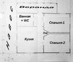 Планировка малобюджетного домика: навес, веранда, санузел, две спальни, кухня-гостиная