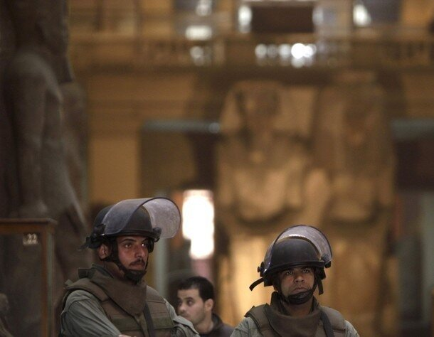 Members of the Egyptian Army special forces look on inside the Egyptian Museum in Cairo