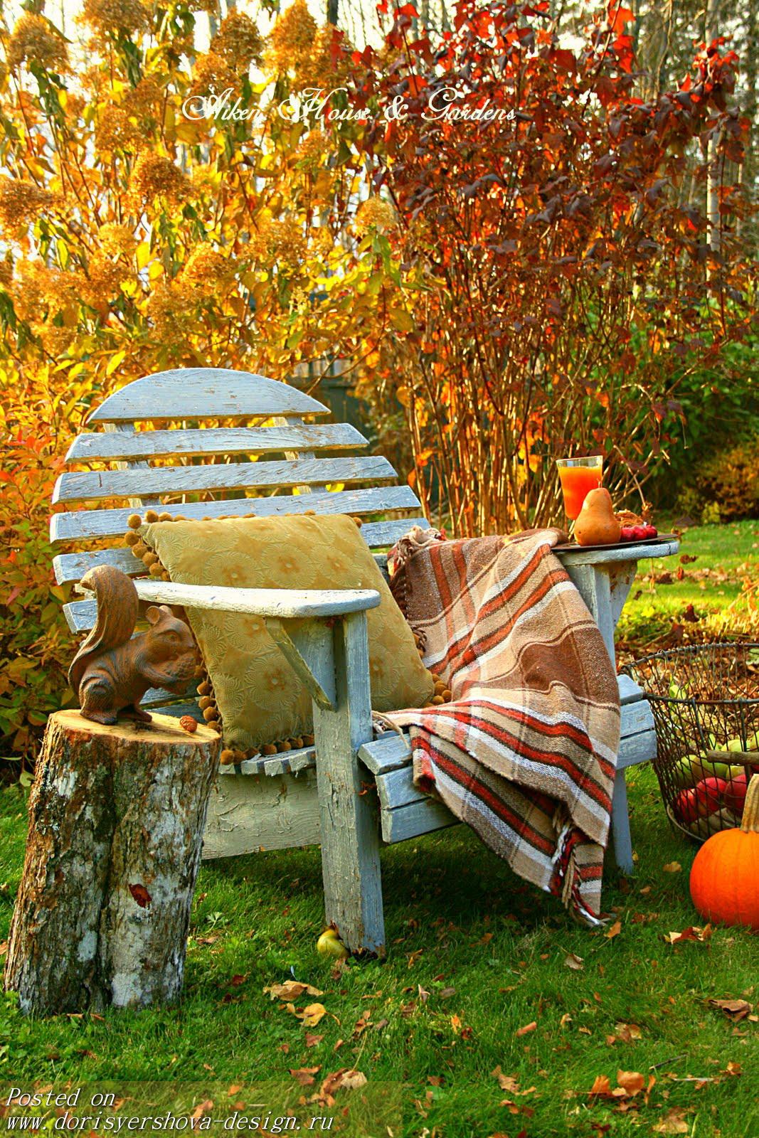 золотая осень в саду, кресло. тыква, плед, желтые листья,подушка