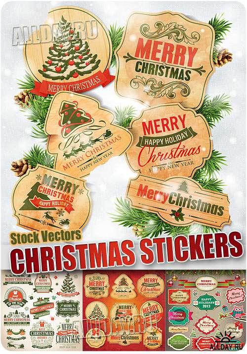 Новогодние винтажные наклейки