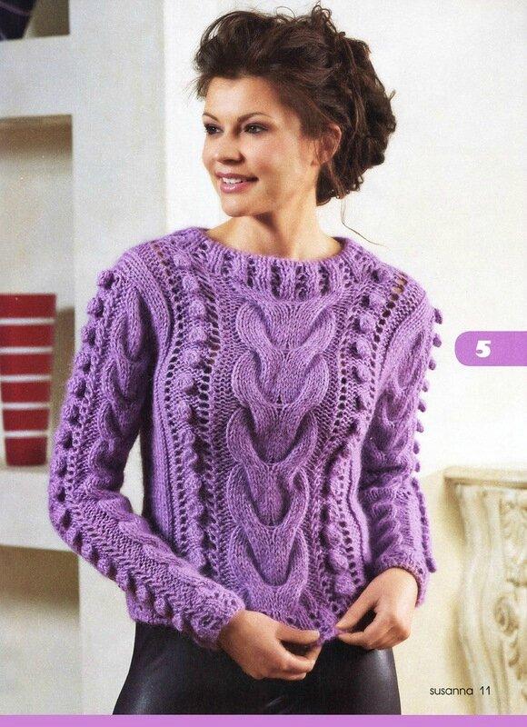 Описание вязания спицами cиреневого пуловера с косами.