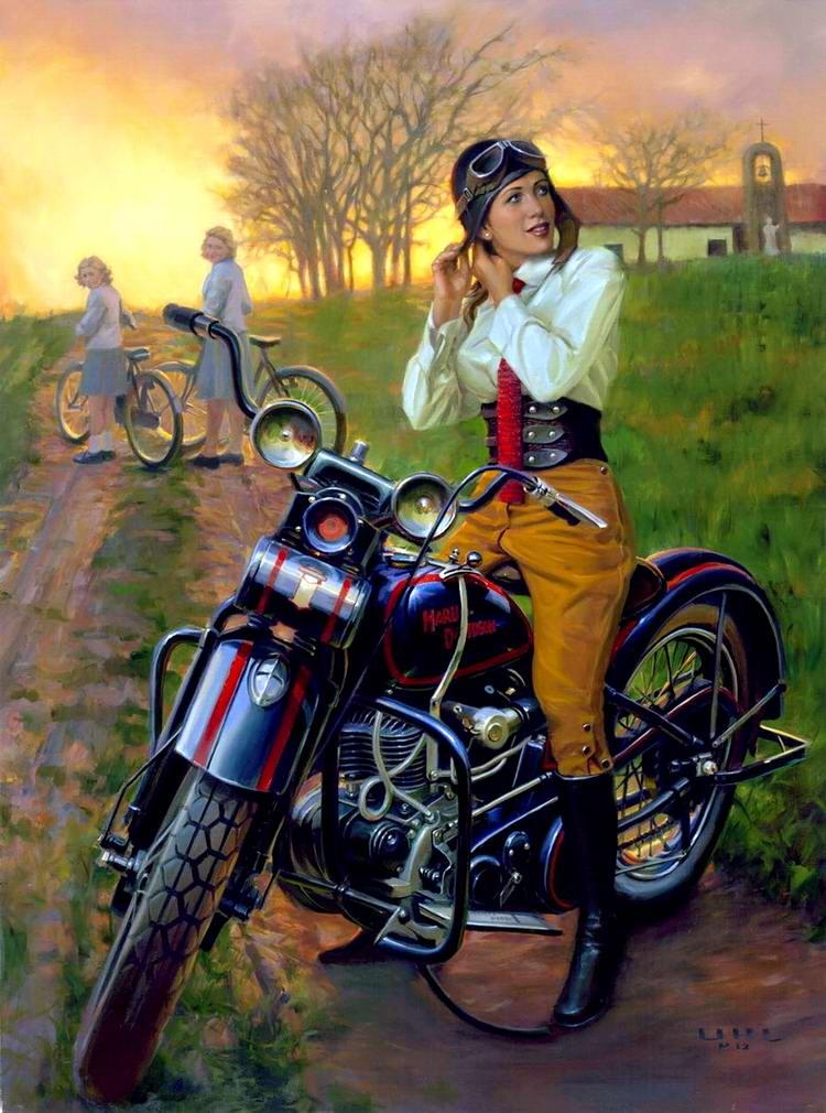 Девушка на Harley-Davidson