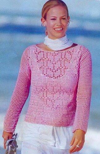 женский пуловер крючком