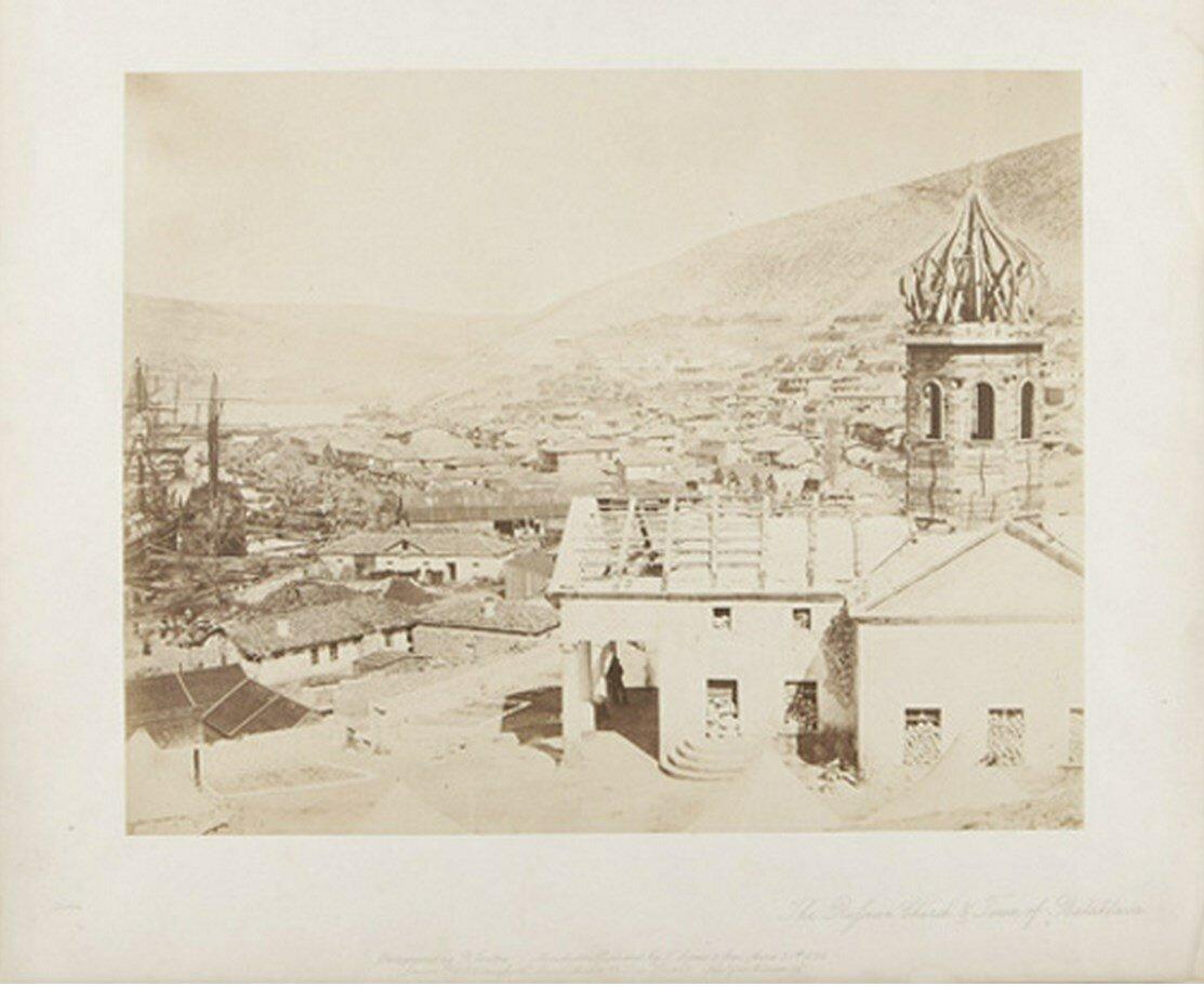 Окрестности Севастополя. Балаклава. Вид на город и церковь. 1855