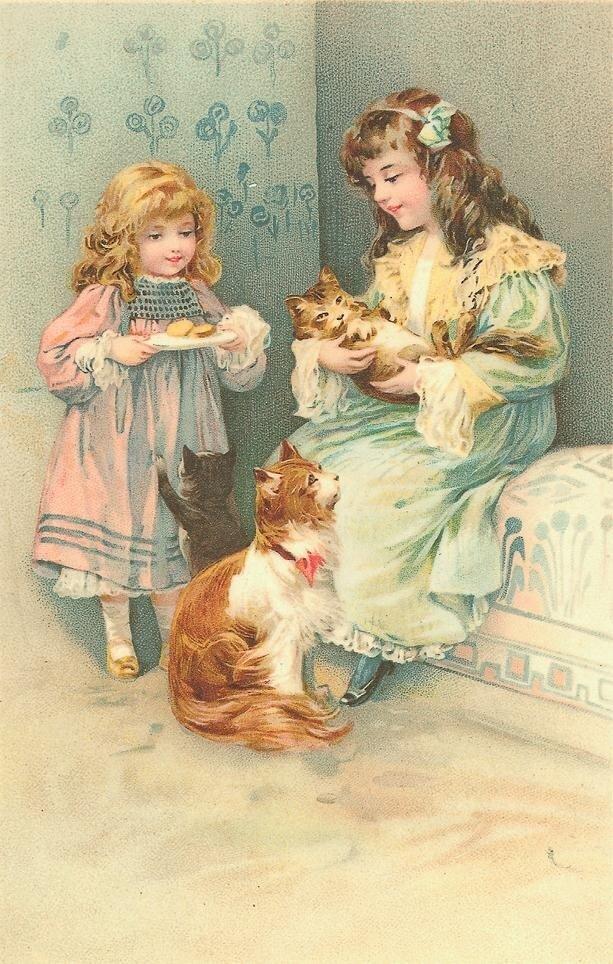 Девочка на старинных открытках 835