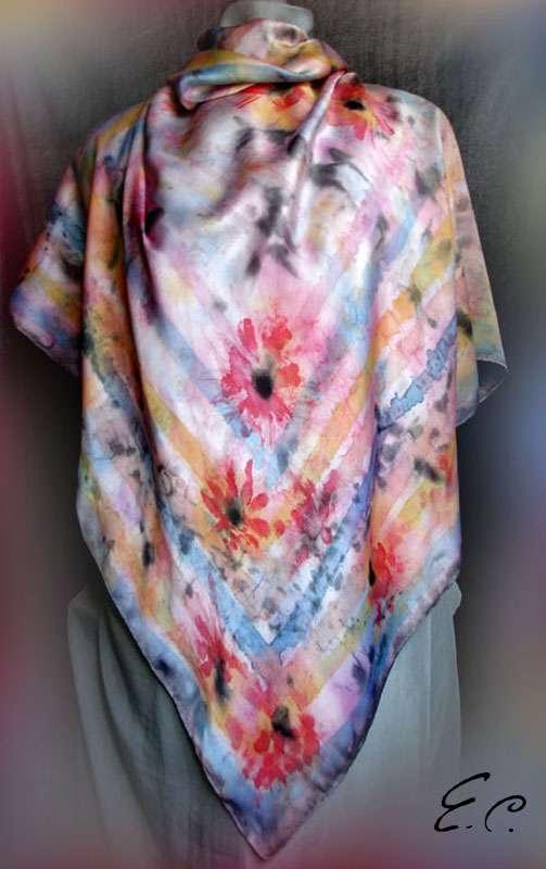 Холодный батик от Елены Суровцевой, фото, платок «Маковое настроение», ручная роспись по шелку