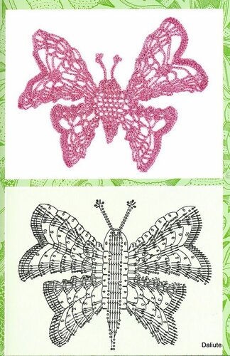 Лентовидные узоры крючком.  Ирландка.схемы.Мотивы Бабочки.  Трилистник-элемент ирландского кружева.
