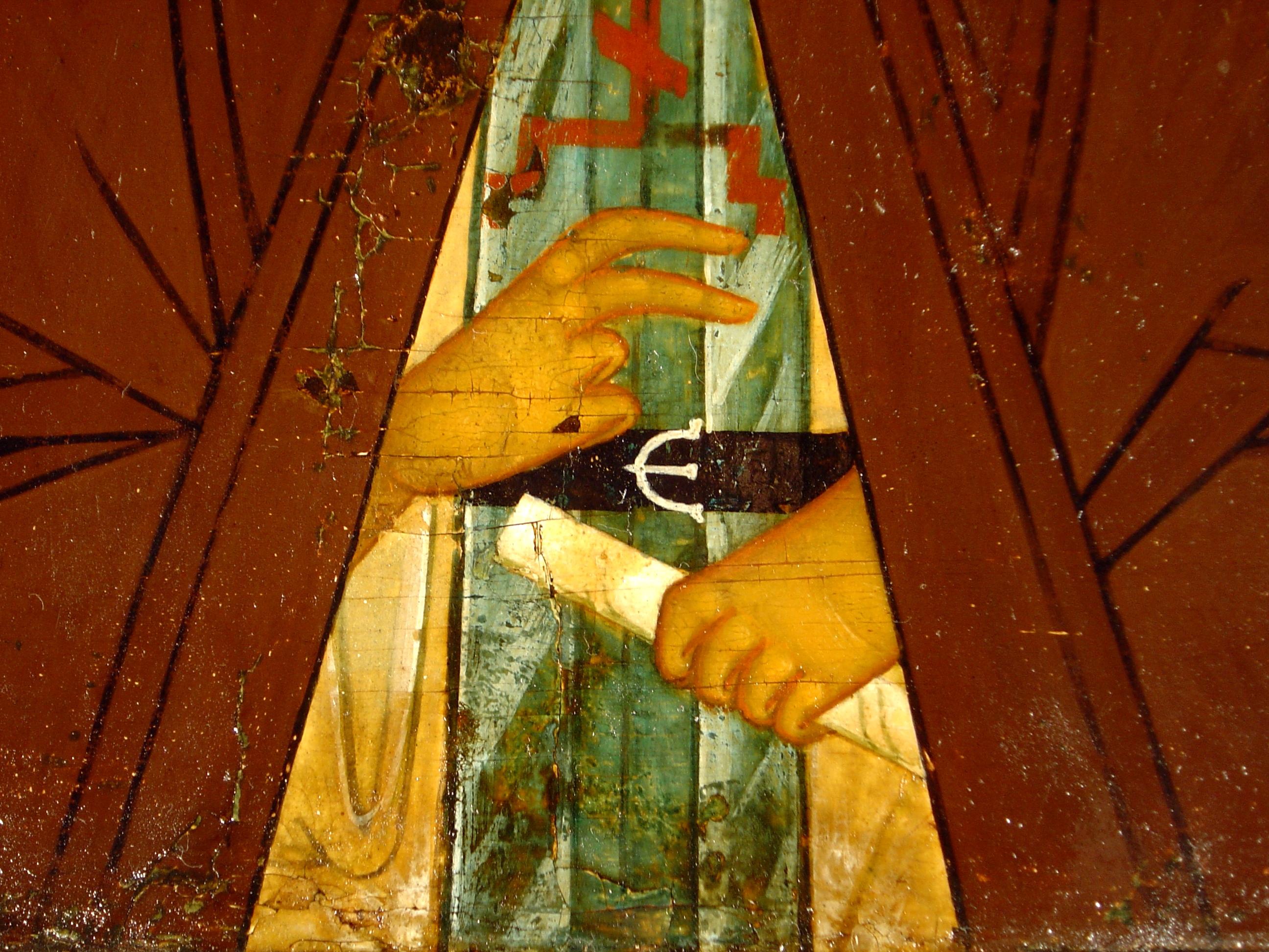 Святой Преподобный Сергий Радонежский. Икона XVI века. Фрагмент.