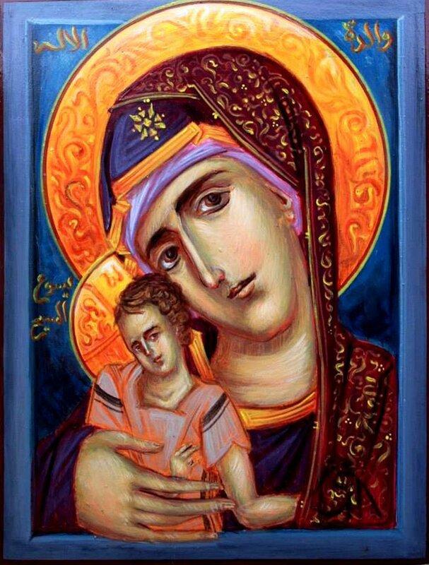 Богоматерь с Младенцем. Современная арабская икона.