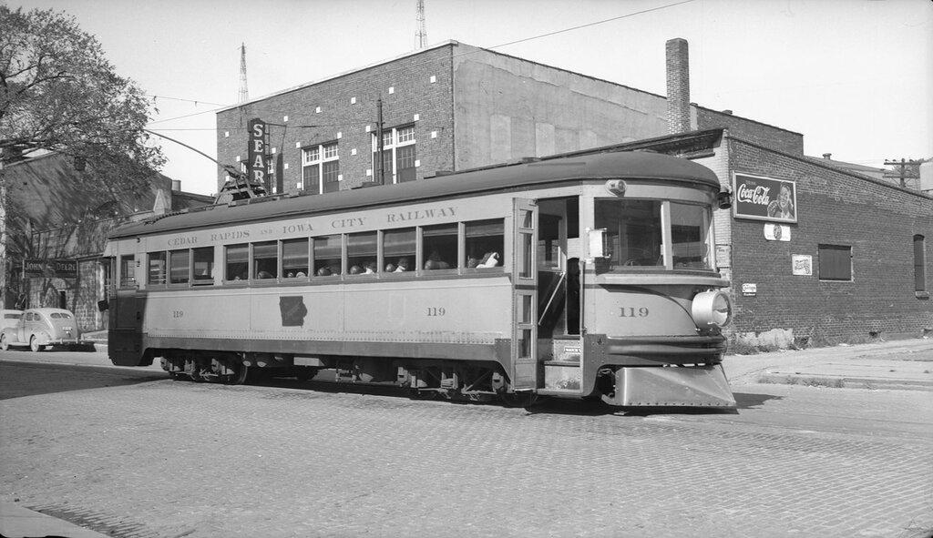 A Cedar Rapids and Iowa City Railway interurban trolley car #119 in Iowa City (Johnson County), Iowa. 1945 October 3