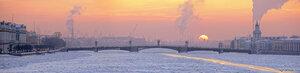 Закатная панорама (вечер, Дворцовый мост, закат, зима, Кунсткамера, Нева, солнце)
