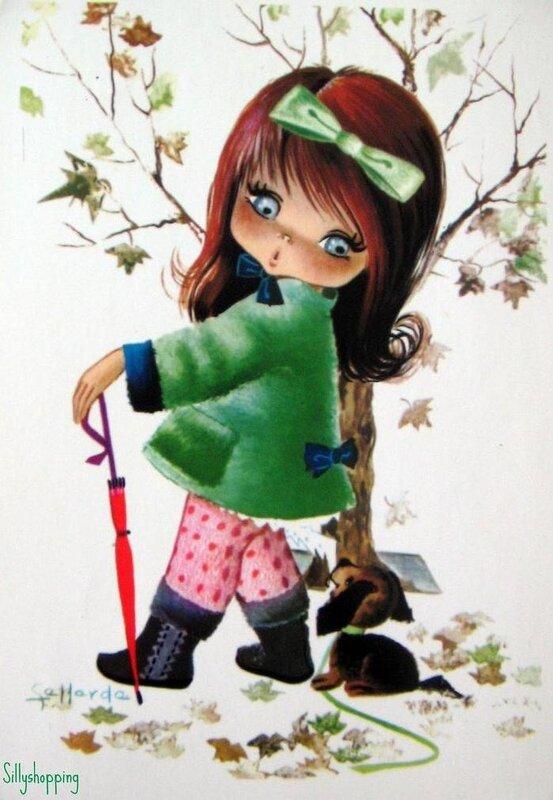 """Вышивка крестом.   """"Маленькая девочка с зонтом """" ."""