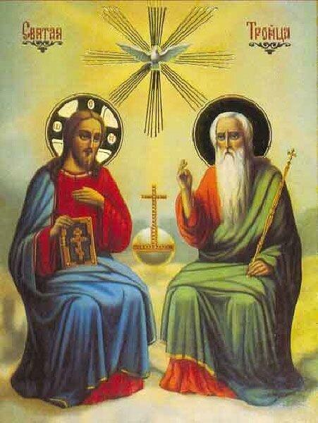 """Это икона  """"Новозаветная Троица """".  Мессия Бог-Сын сидит на троне одесную Бога, изображенного в соответствии с видением..."""