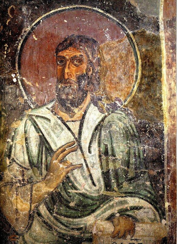 Святой Пророк Иеремия. Фреска Софийского собора в Новгороде. XI век.
