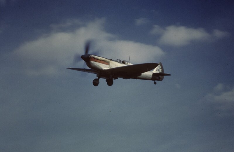 Mark XI Spitfire, (sn MB946) of the 7th Photographic Reconnaissance Group takes off at Mount Farm