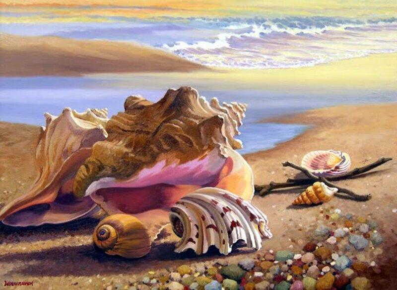 Вышивка море и ракушки